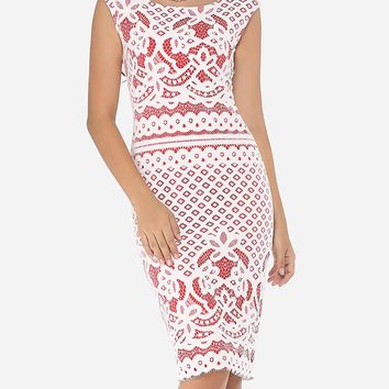 Streetstyle  Casual Round Neck Dacron Floral Lace Bodycon Dress