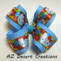 Boutique Light Blue Bow with Hello Kitty Ribbon Handmade Hair Bow
