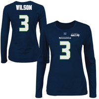 Russell Wilson Seattle Seahawks Majestic Womens Fair Catch V Name and Number Long Sleeve T-Shirt – College Navy