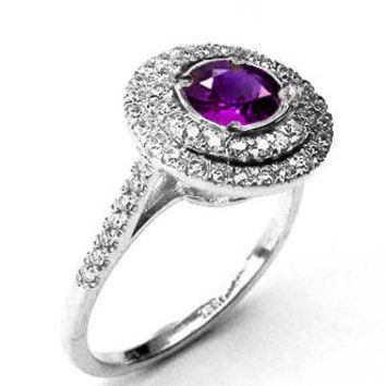 Amethyst ring Halo ring Engagement ring Diamond ring Cathedral channel Double frame Pavé halo ring gold Jewelry
