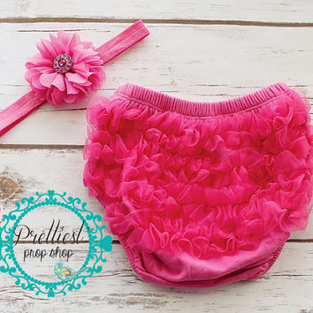 Ruffle Bloomers set, Hot Pink bloomers and headband, Photo prop, Baby bloomers, Ruffle bloomers