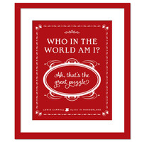 Who Am I? Lewis Carroll Quote - Alice in Wonderland - Quotation Art Print - Literary Art - Children's Book Quote - 8 x 10 Wall Art Decor