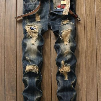 Fashion Casual Pants Men Jeans Slim