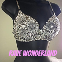 Women's Silver Sequin Daisy Bling Sexy EDC Rave Ultra Bra