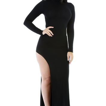 Chicloth Black Long Sleeves Side Split Slit Jesery Maxi Dress