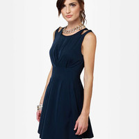Cute Navy Blue Dress - Flared Dress - Sleeveless Dress - $47.00