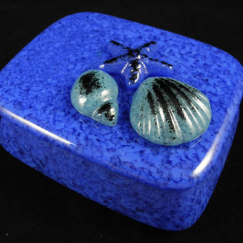 Sea Shell Star Fish Medium and Light Blue Cast Glass Jewelry Trinket Gift Box