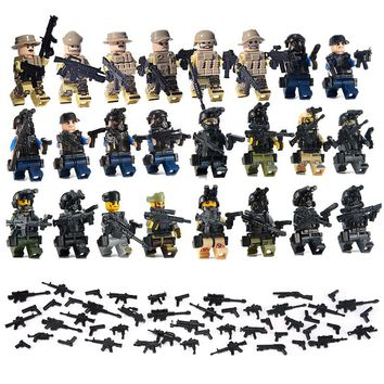 24PCS LegoINGlys Military Swat Team City Police Armed Assault Army soldiers With Weapons Guns Figure WW2 World War Blocks Toys