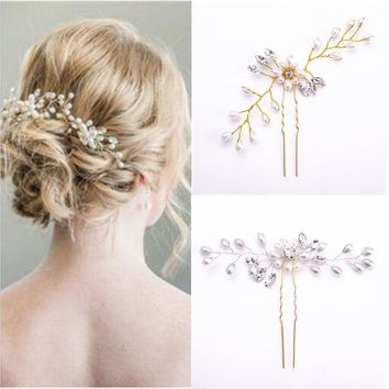 Hot Wedding Bridal Pearl Flower Crystal Rhinestones U Hairpins Clips Bridesmaid Hair wear Jewelry Hair Accessories