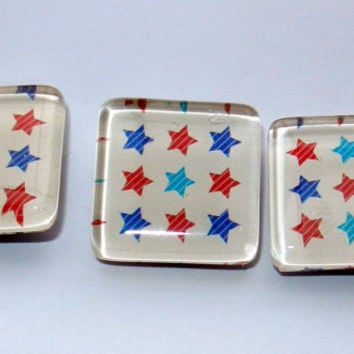 Red and Blue Star Magnets, Set of 3