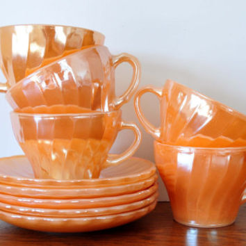 Vintage Peach Luster Cups and Saucers, Fire King Anchor Hocking, Milk Glass Teacups, Shell or Swirl Pattern, Suburbia