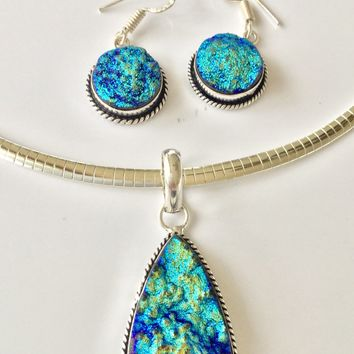 Druzy sterling silver pendant and earrings set