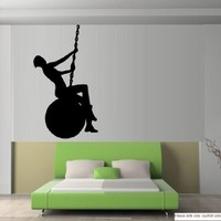 "WRECKING BALL WITH MILEY SILHOUETTE ~ MILEY CYRUS WALL DECAL 13"" X 23"" SM"