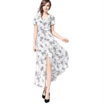 ac NOVQ2A Bohemian Deep V-neck Pleated Printed Waist Waist Dress Dress