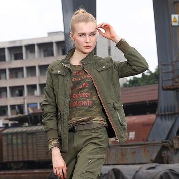 Women Fashion Army Green Jackets Winter New Casual Coats & Jackets Cotton Warm Slim Fit Women's Clothing