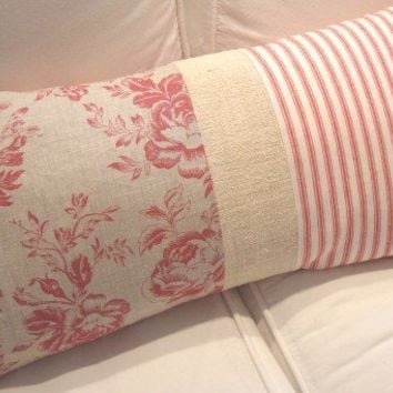 FReNCH TOiLE ReD TiCKiNG CoTTaGe SHaBBy CHiC by Sassycatcreations