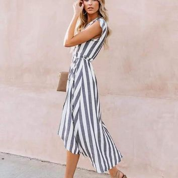 Camilla Striped Wrap Dress