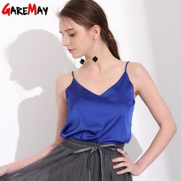 GAREMAY Sexy Silk Top Tank Women Slim Sleeveless Shirt Womens Summer Basics Camisole Halter Tank Top Summer Tops For Women 2018