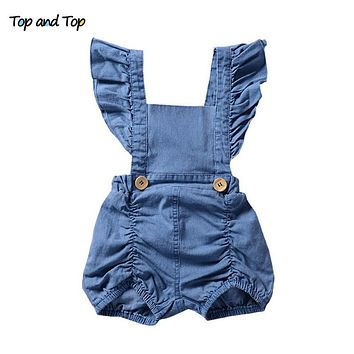 Newborn Infant Baby Girl Denim Ruffles Rompers Sunsuit Outfits Clothes Sleeveless Solid Color Baby Girls Jumpsuit