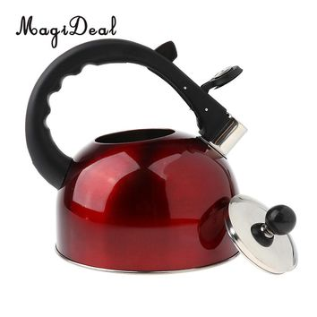 MagiDeal Whistling Kettle Steel Camping Kitchen Tea Coffee Boil Water Pot 3L Red
