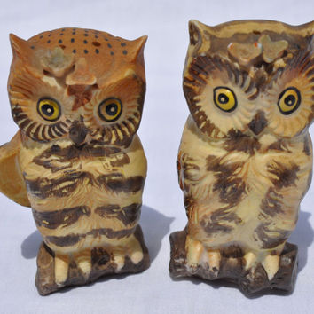 Vintage Owl Salt and Pepper Shaker Set Lefton 1970s Retro Brown