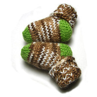 Green toes and heels baby socks brown striped baby booties choose size newborn to 12 month CUSTOMIZABLE
