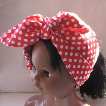 Fabric Head Bandana, Head Band, Hippie, Hair Trends, Bohemian, Women Teen Bandana, Red Polka Dots,Hair Bandana,Rockabilly Headband