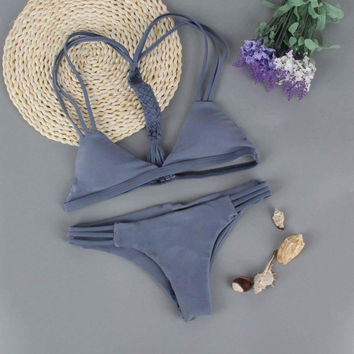 HOT CUTE GREY V BRAID TWO PIECE BIKINI
