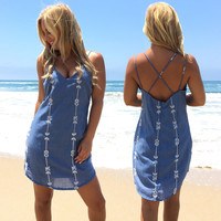 Follow Me Embroider Shift Dress In Denim Blue