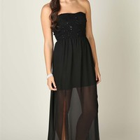 Strapless Maxi Dress with Sequin Lace and Double Slit Hem
