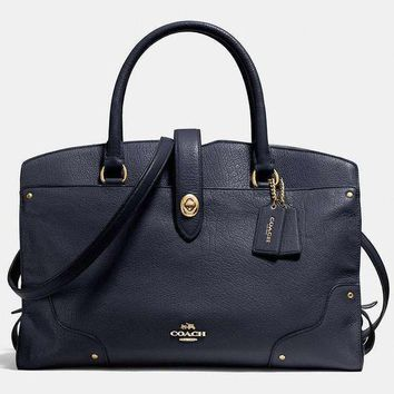 COACH Trending Women Men Shopping Leather Tote Handbag Shoulder Bag Office Package Blue I