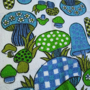 Vintage Cotton Kitchen Hand Towel Magic Mushrooms Blue Green GROOVY 1970s Fringed Decor UNUSED