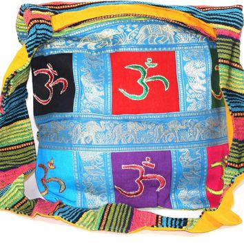 Om Patchwork & Jacquard with Elephants Sling Jhola Bag