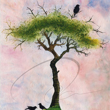 Look Out - Art Print watercolor crow summer birds crows tree green bedroom wall decor giclee office gift Canadian painting Oladesign 8x10