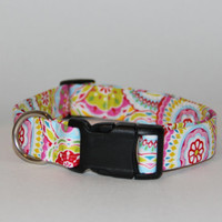 Bright Multi Colored Dog Collar- All Sizes - Bright Pink dog collar