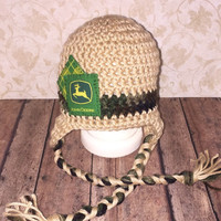 Crochet Camouflage John Deere Inspired Ear Flap Hat