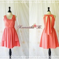 A Party Kate Cocktail Dress Cut Off Back Halter Dress Watermelon Pink Dress Backless Dress Prom Party Dress Bridesmaid Dress Custom Made
