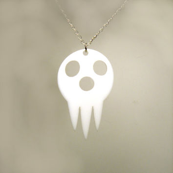 "Soul Eater inspired ""Lord Death"" - Pendant, Zipper Pull, or Key Ring -  Laser Cut Acrylic"