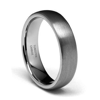 6mm Round Tungsten Wedding Band (Platinum)