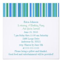 Silly Frog with Stripes Party Invitation