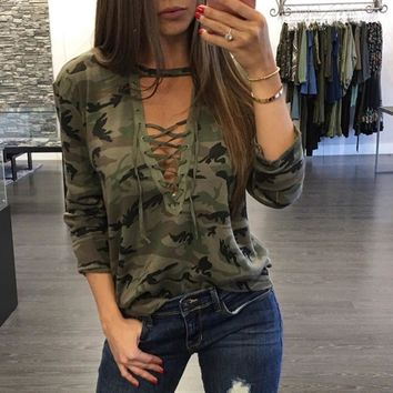 2018 Women Camouflage Sweatshirt V-Neck Hoodies Pullovers Female Long Sleeve Bandage Tracksuits Jumper Tops Sudaderas Mujer