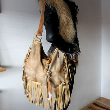XL camel color bag leather hair hide hobo purse western southwestern navaho tribal hippie boho bohemian feather charm bag sweetsmokebags