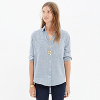 Oversized Button-Down Shirt in Crinkle Stripe