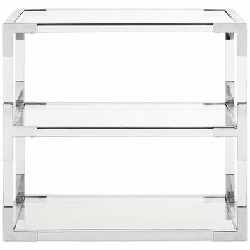 """Louisa 28"""" Wide Chrome and Clear Glass Modern End Table - #21J09 