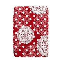 BEANBEANCASE Ultra Thin Magnetic Smart Cover & Clear Back Case for Apple iPad Air 2 with elegant floral pattern (Red)