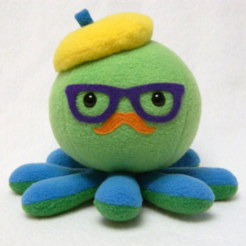 Hipster octopus plush toy with mustache and glasses