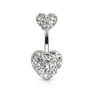 Clear Gem Heart Belly Ring