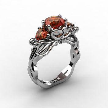 Nature Fairy 14K White Gold 1.0 Ct Round and Heart Orange Sapphire Three Stone Engagement Ring R1082-14KWGOS