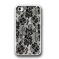 Vintage Black White Lace iPhone Case - Rubber Silicone iPhone 5 Case
