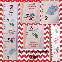 Dr. Seuss Hand Painted Wooden Growth Chart
